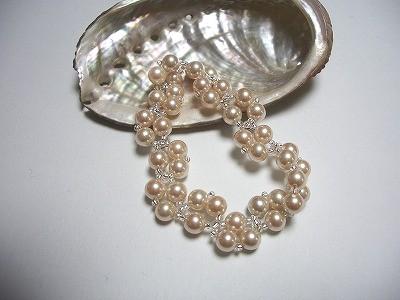 人工真珠編みこみブレスレット