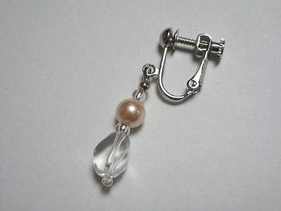 水晶+6mm珠パールドロップイヤリング