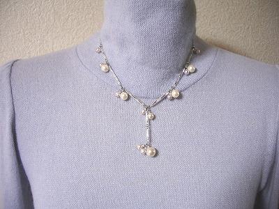 チャーム淡水パールデザインY型ネックレス