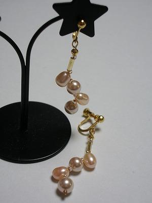 淡水+人工真珠ミックスドロップイヤリング